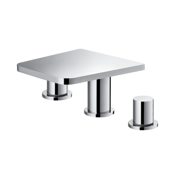 Annecy 3-hole deck mounted basin mixer with clicker waste set